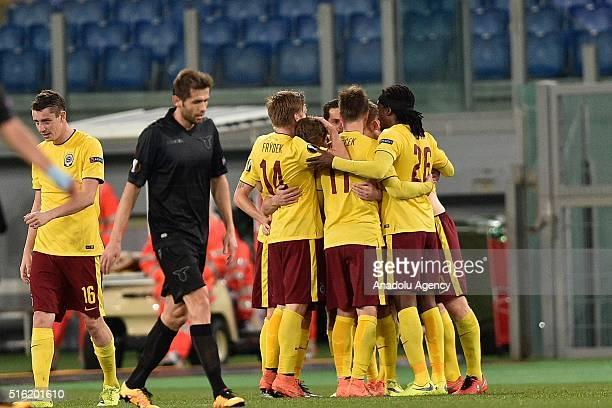 Lukas Julis of ACF Sarta Praga celebrates after scoring the goal during the UEFA Europa League fourth raund soccer match between SS Lazio and ACF...
