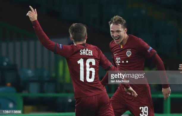 Lukas Julis of Sparta Prague celebrates after scoring his team's first goal during the UEFA Europa League Group H stage match between Celtic and AC...