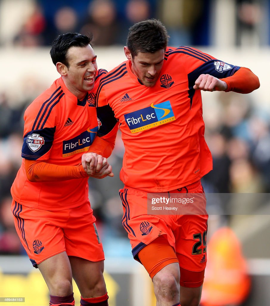 Lukas Jutiewicz of Bolton celebrates after scoring their first goal during the Sky Bet Championship match between Millwall and Bolton Wanderers at The Den on February 15, 2014 in London, England.