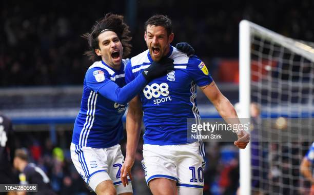 Lukas Jutkiewicz celebrates with Jota of Birmingham after he scores during the Sky Bet Championship match between Birmingham City and Sheffield...