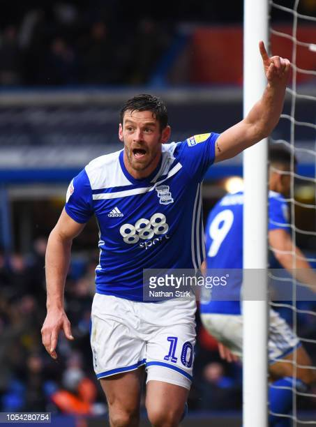 Lukas Jutkiewicz of Birmingham celebrates after he scores during the Sky Bet Championship match between Birmingham City and Sheffield Wednesday at St...
