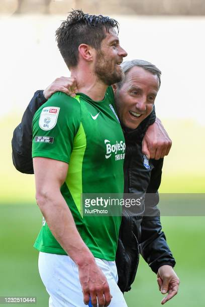 Lukas Jutkiewicz of Birmingham City and Lee Bowyer, manager of Birmingham City celebrate after the final whistle during the Sky Bet Championship...