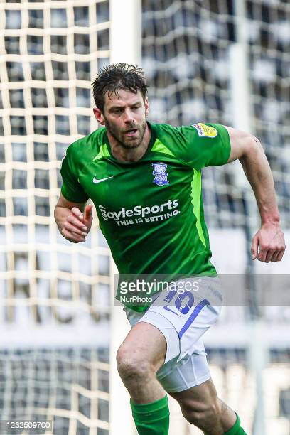 Lukas Jutkiewicz of Birmingham City celebrates after scoring his sides second goal to make it 1-2 during the Sky Bet Championship match between Derby...