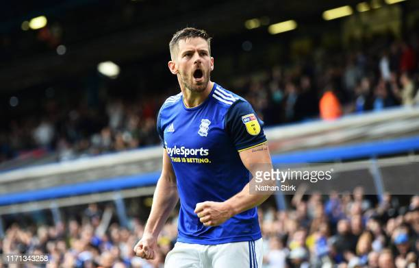 Lukas Jutkiewicz of Birmingham City celebrates as he scores their first goal during the Sky Bet Championship match between Birmingham City and Stoke...