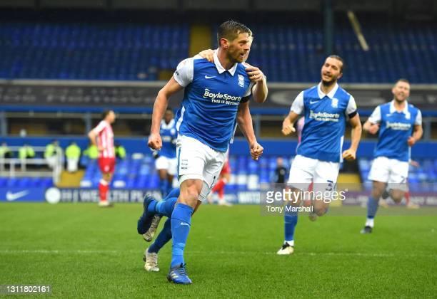 Lukas Jutkiewicz of Birmingham City celebrates scoring his team's first goal during the Sky Bet Championship match between Birmingham City and Stoke...