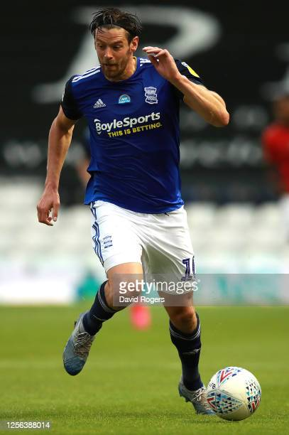 Lukas Jutkiewicz of Birmingham City runs with the ball during the Sky Bet Championship match between Birmingham City and Charlton Athletic at St...