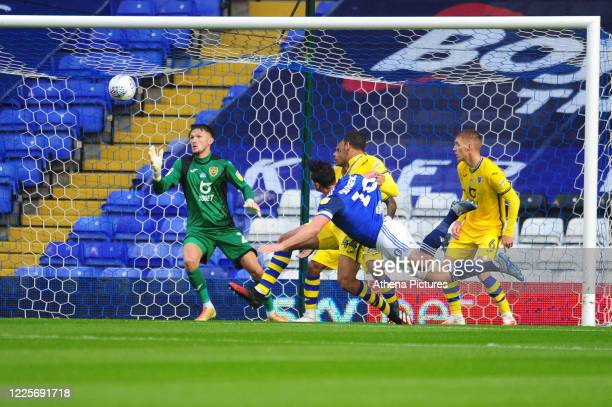 Lukas Jutkiewicz of Birmingham City scores the opening goal during the Sky Bet Championship match between Birmingham City and Swansea City at the St....