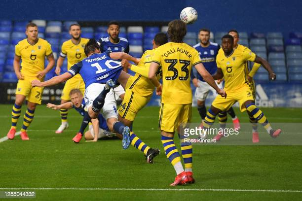 Lukas Jutkiewicz of Birmingham scores the opening goal during the Sky Bet Championship match between Birmingham City and Swansea City at St Andrew's...