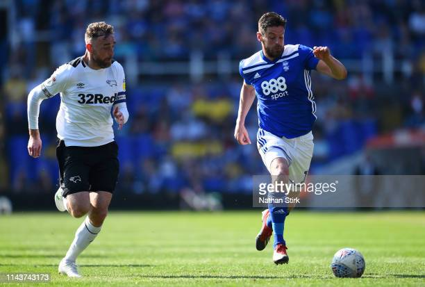 Lukas Jutkiewicz of Bormingham City battles for possession with Richard Keogh of Derby County during the Sky Bet Championship match between...