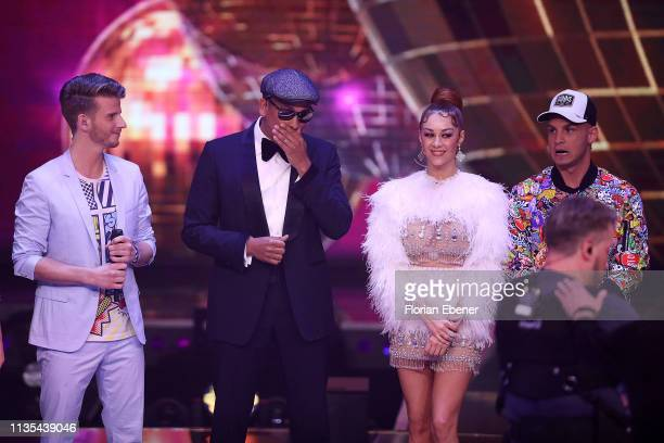 Lukas Kepser Xavier Naidoo Oana Nechiti and Pietro Lombardi during the first event show of the tv competition Deutschland sucht den Superstar at...