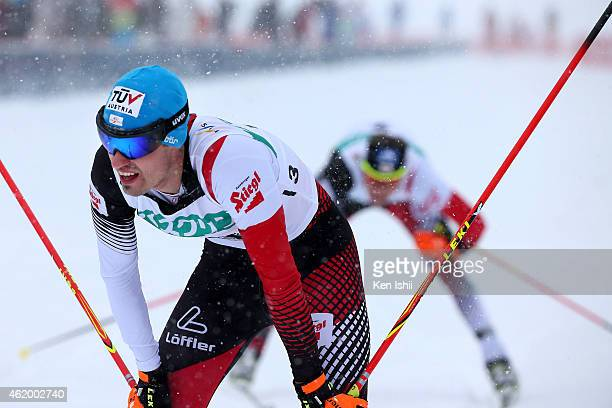Lukas Klapfer of Austria reacts after the competition in the XC 10 km Individual Gundersen during day one of FIS Men's Nordic Combined World Cup at...