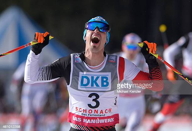 Lukas Klapfer of Austria takes first place during Day Two of the FIS Nordic Combined World Cup HS 106 Team Competition on January 4 2015 in Schonach...