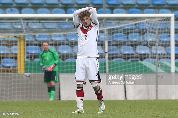 Lukas Klünter of Germany , during the UEFA Under19 Elite Round match between U19 Germany and U19 Slovakia at Carl-Benz-Stadium on March 26, 2015 in...