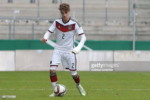 Lukas Klünter of Germany during the UEFA Under19 Elite Round match between U19 Germany and U19 Slovakia at Carl-Benz-Stadium on March 26, 2015 in...