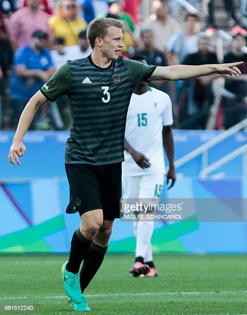 Lukas Klostermann of Germany celebrates his goal scored against Nigeria during their Rio 2016 Olympic Games men's football semifinal match Nigeria vs...