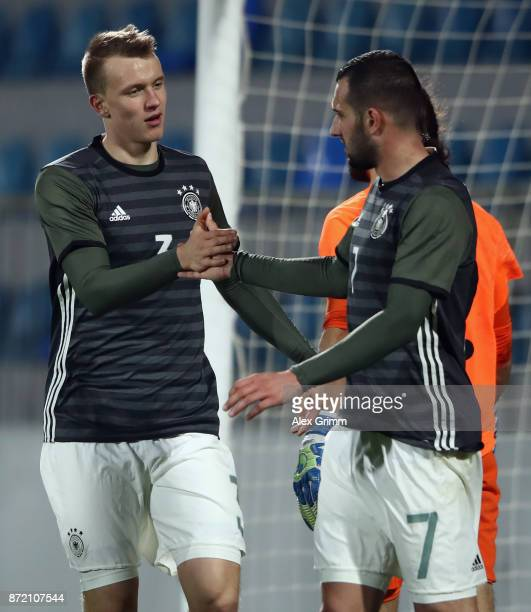 Lukas Klostermann of Germany celebrates his team's sixth goal with team mate Levin Oeztunali during the UEFA Under21 Euro 2019 Qualifier match...