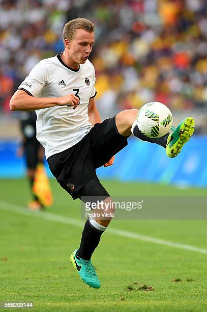 Lukas Klostermann of Germany controls the ball during the Men's First Round Football Group C match between Germany and Fiji at Mineirao Stadium on...