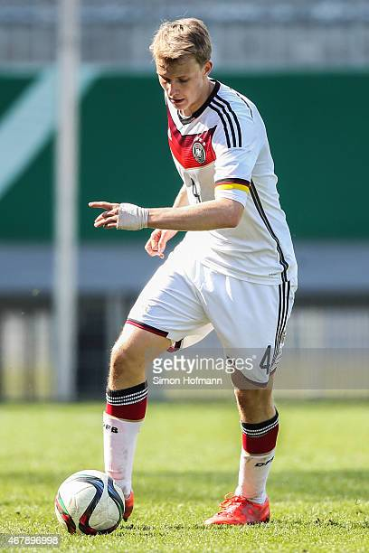 Lukas Klostermann of Germany controls the ball during to the UEFA European Under19 Championship Elite Round match between U19 Germany and U19 Ireland...