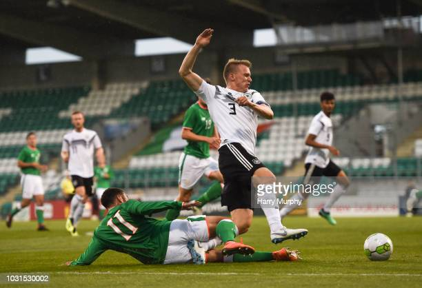 Lukas Klostermann of Germany is fouled by Jake Mulraney of Republic of Ireland leading to a Germany penalty during the 2019 UEFA European Under-21...