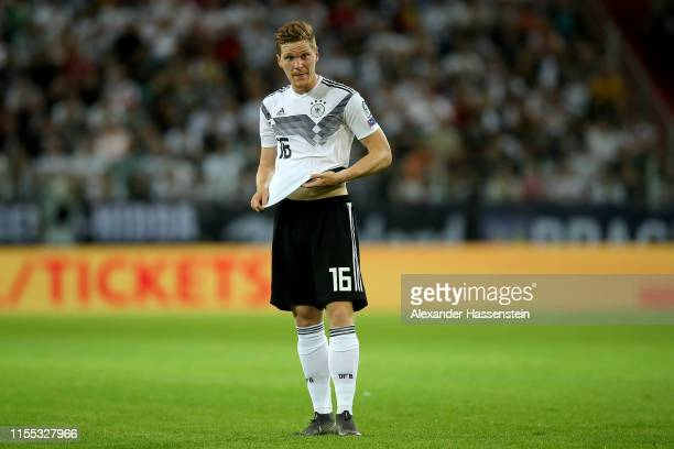 Lukas Klostermann of Germany looks on during the UEFA Euro 2020 Qualifier match between Germany and Estonia at Opel Arena on June 11, 2019 in Mainz,...
