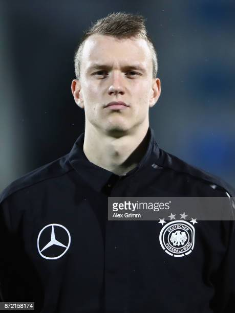 Lukas Klostermann of Germany looks on prior to the UEFA Under21 Euro 2019 Qualifier match between Azerbaijan U21 and Germany U21 at Dalga Arena on...