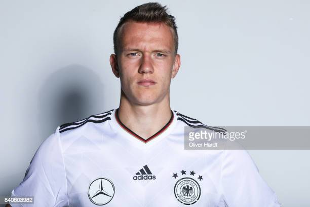 Lukas Klostermann of Germany poses for the Germany U21 Team Presentation on August 29 2017 in Harsewinkel Germany