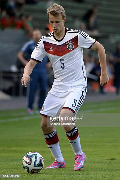 Lukas Klostermann of Germany runs with the ball during the international friendly match between U19 Germany and U19 Netherlands at Sportpark...