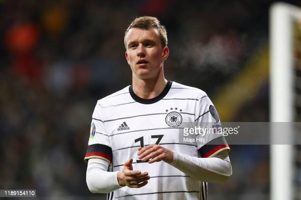 Lukas Klostermann of Germany shows appreciation to the fans as he leaves the pitch during the UEFA Euro 2020 Qualifier between Germany and Northern...
