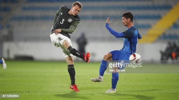 Lukas Klostermann of Germany takes a shot on the goal against Budag Nasirov of Azerbaijan during the UEFA Under21 Euro 2019 Qualifier match between...