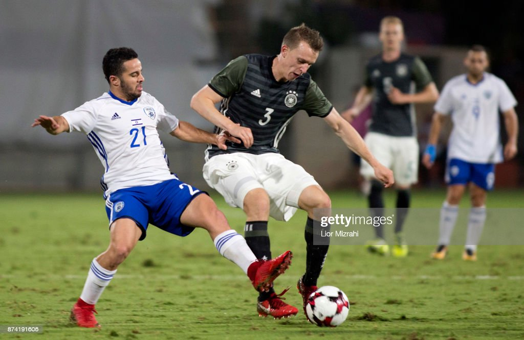 Lukas Klostermann of Germany vies with Moti Barshazky of Israel during the UEFA Under21 Euro 2019 Qualifier on November 14, 2017 in Ramat Gan, Israel.
