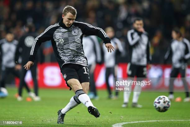 Lukas Klostermann of Germany warms up prior to the UEFA Euro 2020 Qualifier between Germany and Northern Ireland at Commerzbank Arena on November 19,...