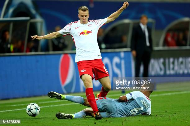 Lukas Klostermann of Leipzig and Jorge of Monaco battle for the ball during the UEFA Champions League group G match between RB Leipzig and AS Monaco...
