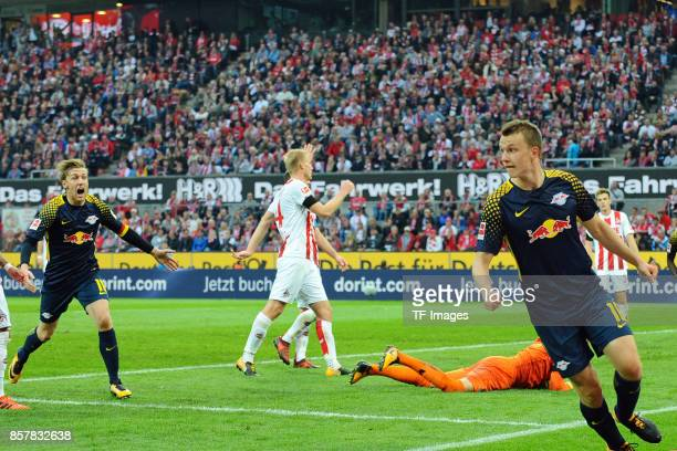 Lukas Klostermann of Leipzig celebrates after scoring his team`s first goal during the Bundesliga match between 1 FC Koeln and RB Leipzig at...