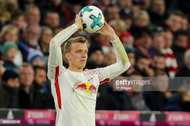 Lukas Klostermann of Leipzig controls the ball during the Bundesliga match between FC Bayern Muenchen and RB Leipzig at Allianz Arena on October 28...