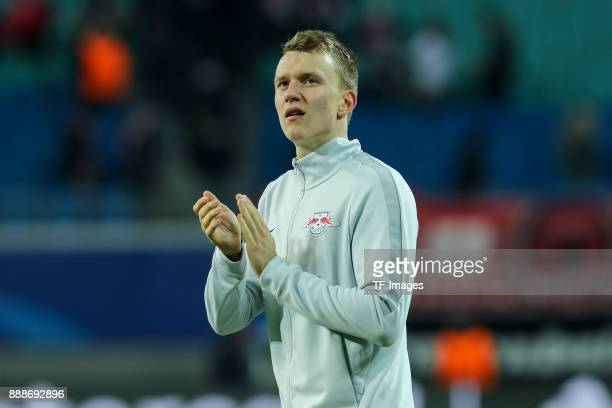 Lukas Klostermann of Leipzig gestures during the UEFA Champions League group G soccer match between RB Leipzig and Besiktas at the Leipzig Arena in...