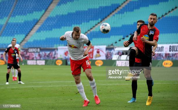 Lukas Klostermann of Leipzig heads the equalizing goal during the Bundesliga match between RB Leipzig and Hertha BSC at Red Bull Arena on May 27,...