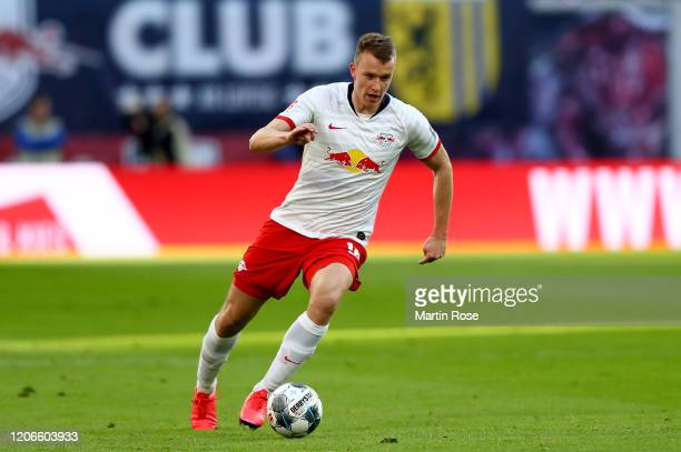 Lukas Klostermann of Leipzig runs with the ball during the Bundesliga match between RB Leipzig and SV Werder Bremen at Red Bull Arena on February 15,...