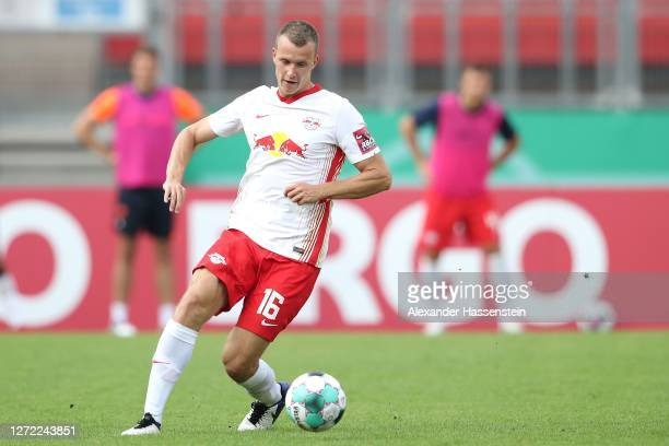 Lukas Klostermann of Leipzig runs with the ball during the DFB Cup first round match between 1. FC Nürnberg and RB Leipzig at Max-Morlock-Stadion on...