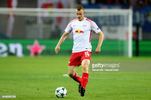 Lukas Klostermann of Leipzig runs with the ball during the UEFA Champions League group G match between RB Leipzig and AS Monaco at Red Bull Arena on...