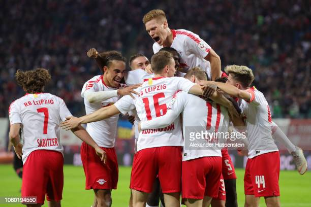 Lukas Klostermann of RB Leipzig celebrates with teammates after scoring his team's second goal during the Bundesliga match between RB Leipzig and...