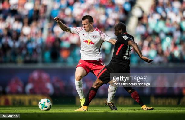 Lukas Klostermann of RB Leipzig in action with Michael Hector of Eintracht Frankfurt during the Bundesliga match between RB Leipzig and Eintracht...