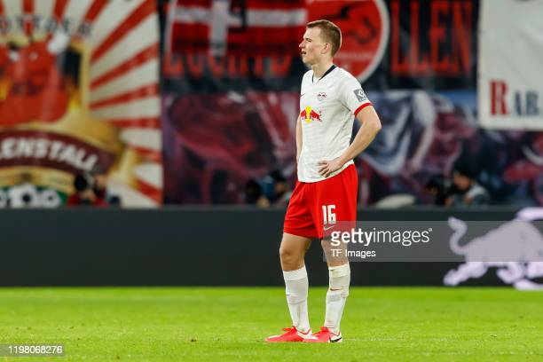 Lukas Klostermann of RB Leipzig looks on after the Bundesliga match between RB Leipzig and Borussia Moenchengladbach at Red Bull Arena on February 1,...