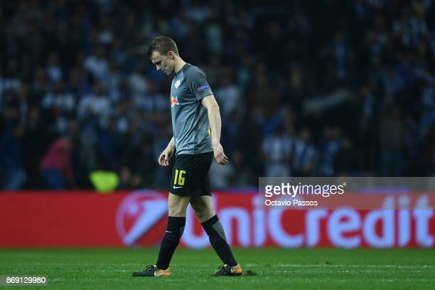 Lukas Klostermann of RB Leipzig reacts at the end of the UEFA Champions League group G match between FC Porto and RB Leipzig at Estadio do Dragao on...