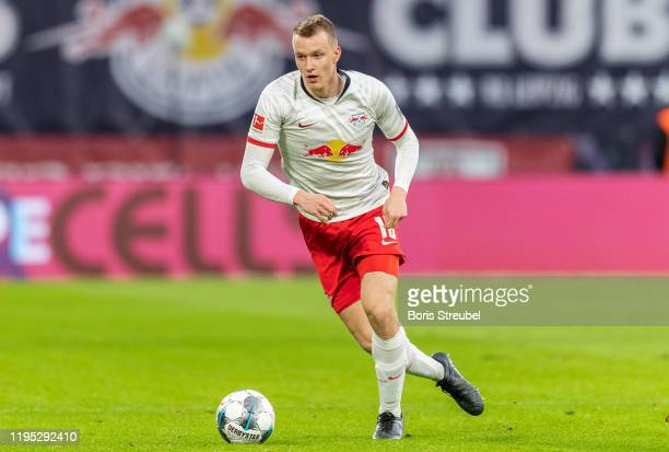 Lukas Klostermann of RB Leipzig runs with the ball during the Bundesliga match between RB Leipzig and FC Augsburg at Red Bull Arena on December 21,...