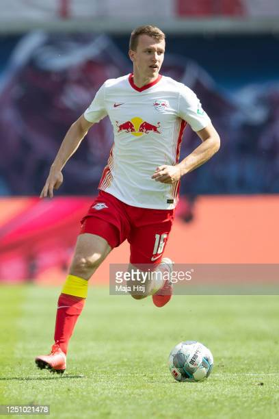 Lukas Klostermann of RB Leipzig runs with the ball during the Bundesliga match between RB Leipzig and Borussia Dortmund at Red Bull Arena on June 20,...