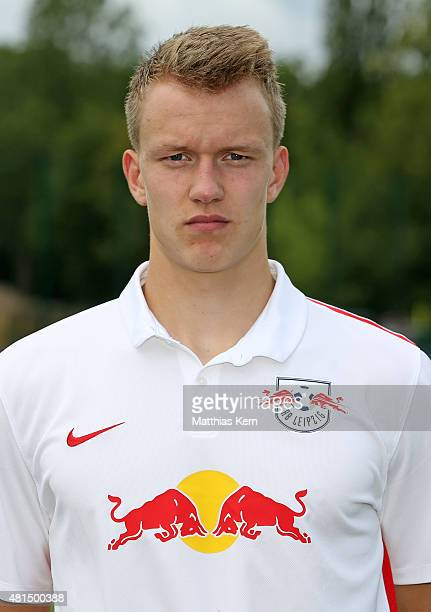 Lukas Klostermann poses during the official team presentation of RB Leipzig on July 21 2015 in Leipzig Germany