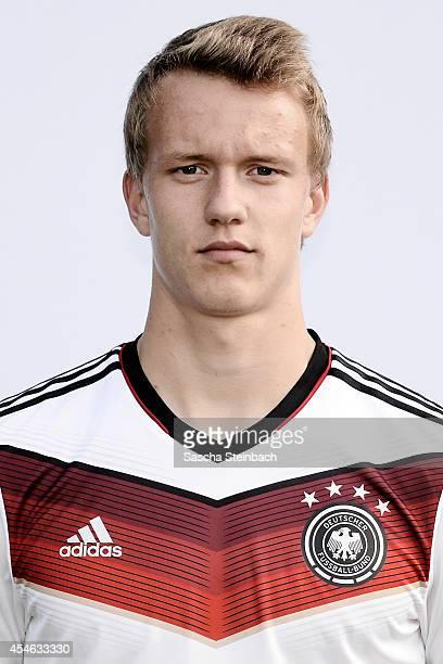 Lukas Klostermann poses during the U19 Germany team presentation at Sportpark Hoehenberg on September 4 2014 in Cologne Germany