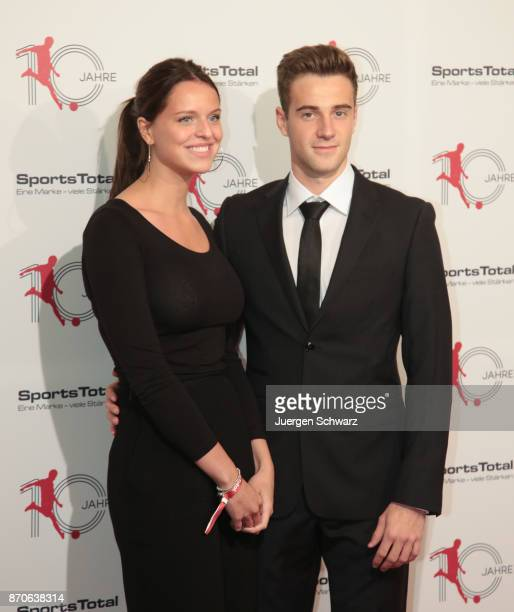 Lukas Kluenter and his girlfriend Rebecca pose at the 10th anniversary celebration of the Sports Total Agency on November 5 2017 in Cologne Germany