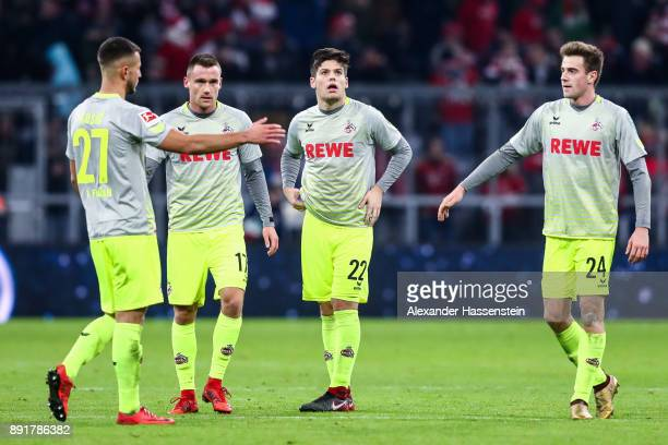Lukas Kluenter of 1FC Koeln Jorge Mere Perez Christian Clemens and Filip Kusic react after the Bundesliga match between FC Bayern Muenchen and 1 FC...
