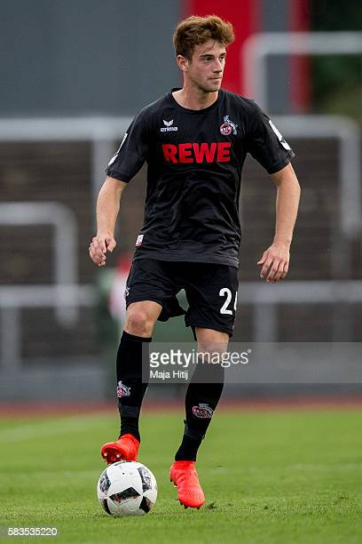 Lukas Kluenter of FC Koeln plays the ball during the preseason friendly match between Fortuna Koeln and 1 FC Koeln at Sued Stadion on July 26 2016 in...